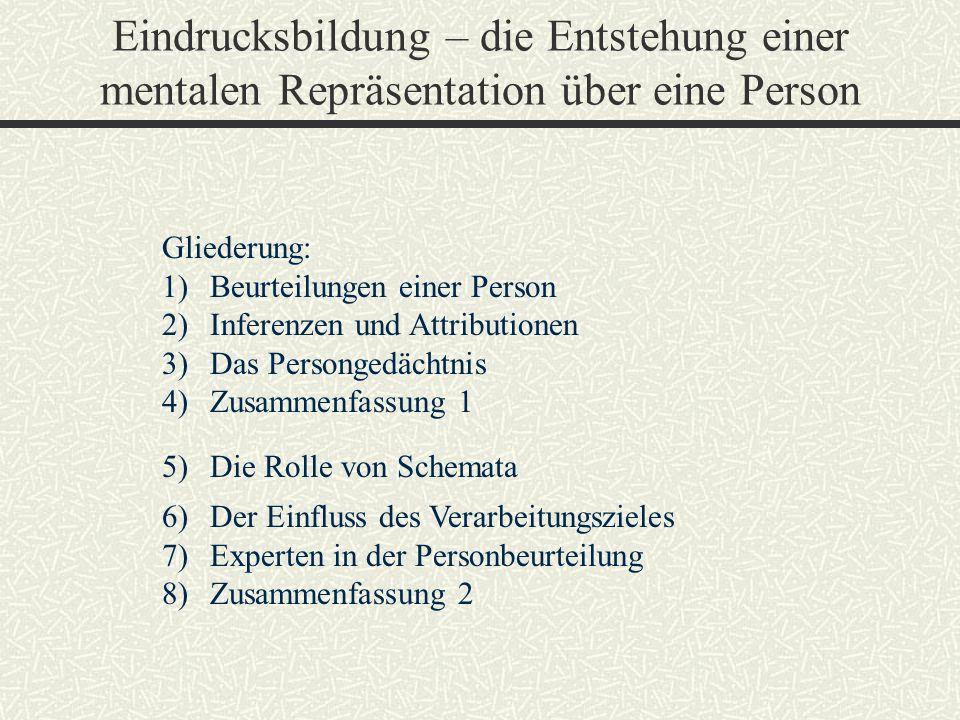 Eindrucksbildung – die Entstehung einer mentalen Repräsentation über eine Person Gliederung: 1)Beurteilungen einer Person 2)Inferenzen und Attribution