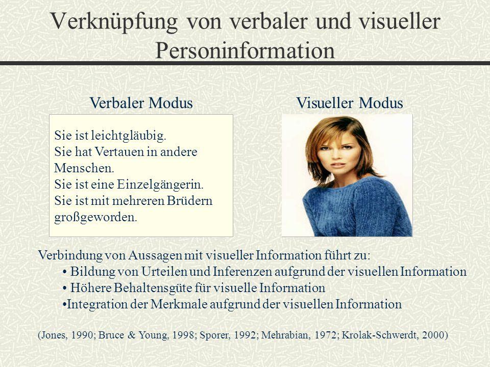 Verknüpfung von verbaler und visueller Personinformation Verbaler ModusVisueller Modus Sie ist leichtgläubig. Sie hat Vertauen in andere Menschen. Sie