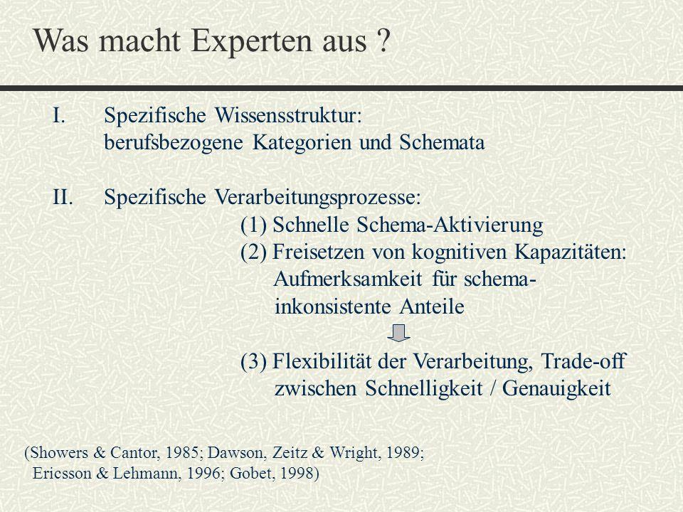 Was macht Experten aus ? I. Spezifische Wissensstruktur: berufsbezogene Kategorien und Schemata II. Spezifische Verarbeitungsprozesse: (1) Schnelle Sc