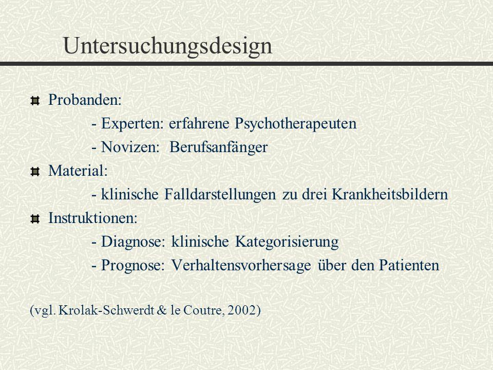 Untersuchungsdesign Probanden: - Experten: erfahrene Psychotherapeuten - Novizen: Berufsanfänger Material: - klinische Falldarstellungen zu drei Krank