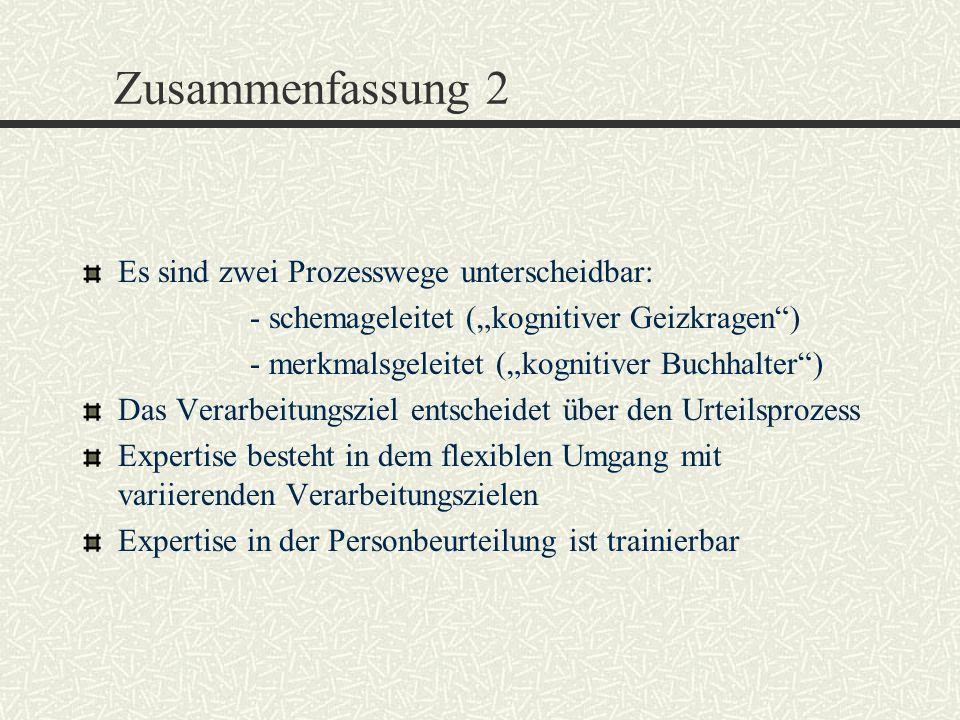 Zusammenfassung 2 Es sind zwei Prozesswege unterscheidbar: - schemageleitet (kognitiver Geizkragen) - merkmalsgeleitet (kognitiver Buchhalter) Das Ver