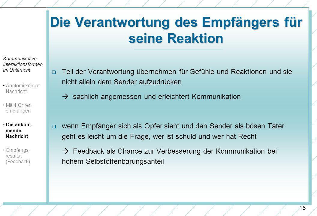 15 Die Verantwortung des Empfängers für seine Reaktion Teil der Verantwortung übernehmen für Gefühle und Reaktionen und sie nicht allein dem Sender au
