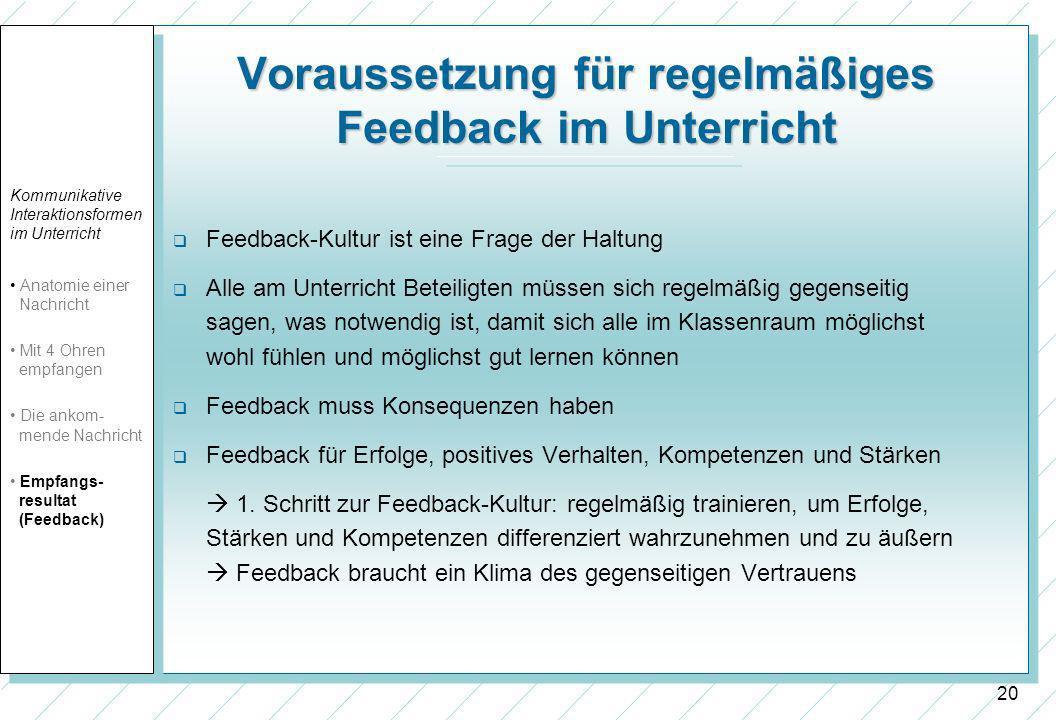 20 Voraussetzung für regelmäßiges Feedback im Unterricht Feedback-Kultur ist eine Frage der Haltung Alle am Unterricht Beteiligten müssen sich regelmä