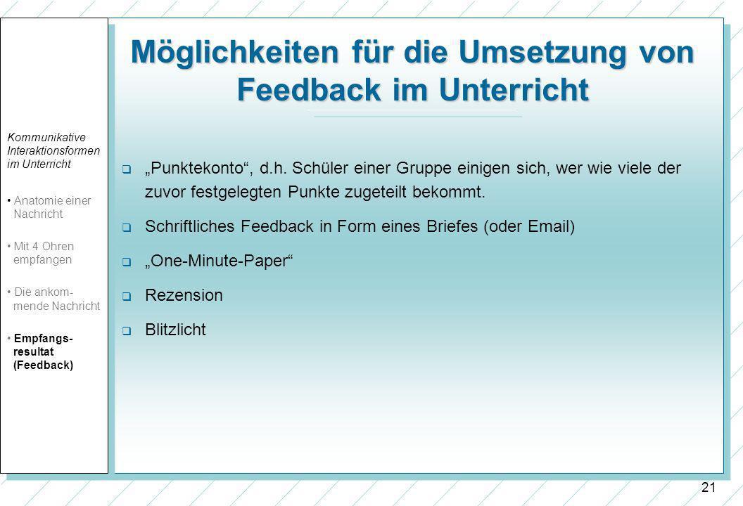 21 Möglichkeiten für die Umsetzung von Feedback im Unterricht Punktekonto, d.h.