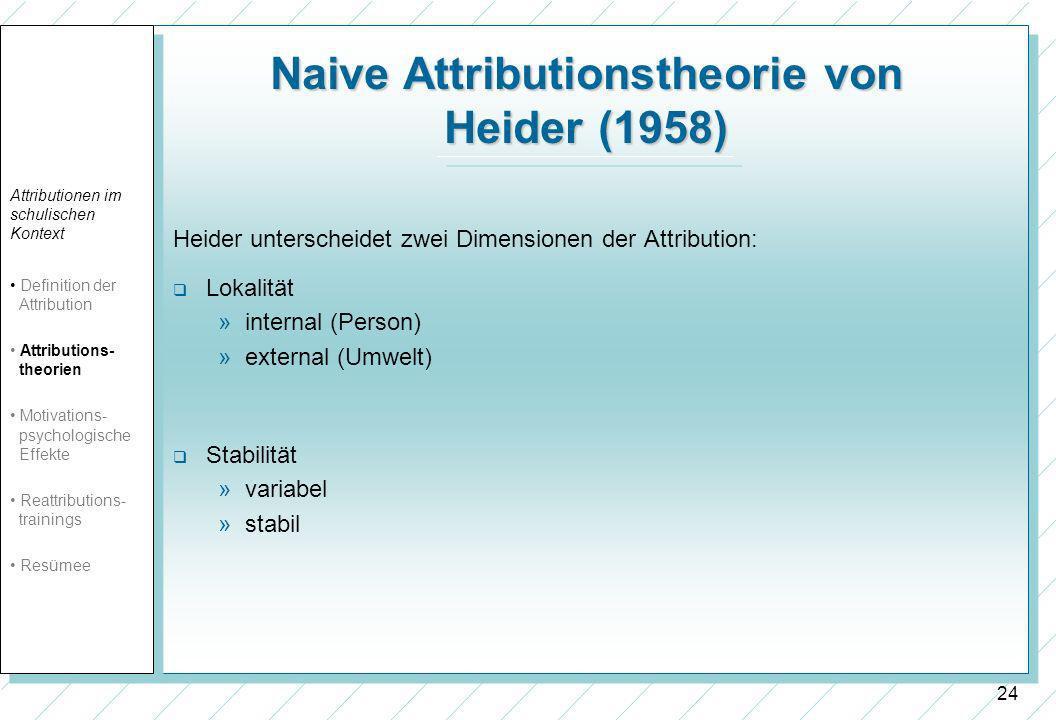 24 Naive Attributionstheorie von Heider (1958) Heider unterscheidet zwei Dimensionen der Attribution: Lokalität »internal (Person) »external (Umwelt) Stabilität »variabel »stabil Attributionen im schulischen Kontext Definition der Attribution Attributions- theorien Motivations- psychologische Effekte Reattributions- trainings Resümee