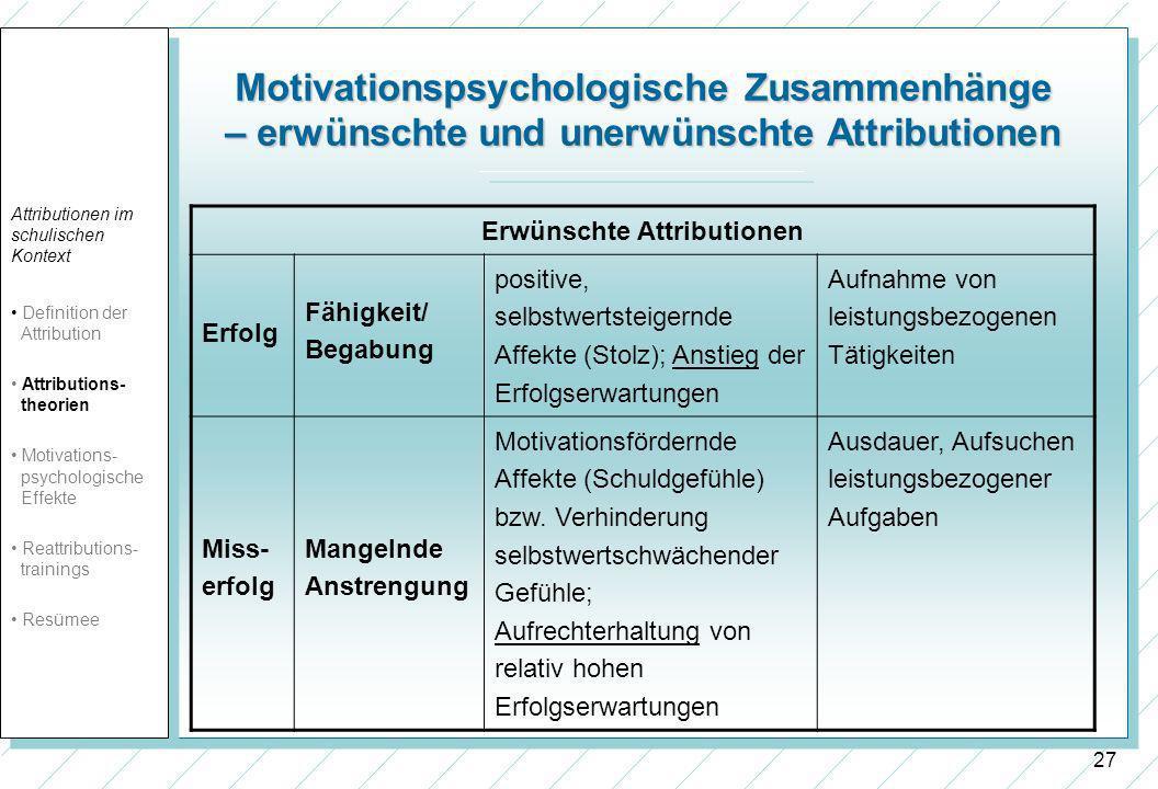 27 Motivationspsychologische Zusammenhänge – erwünschte und unerwünschte Attributionen Erwünschte Attributionen Erfolg Fähigkeit/ Begabung positive, selbstwertsteigernde Affekte (Stolz); Anstieg der Erfolgserwartungen Aufnahme von leistungsbezogenen Tätigkeiten Miss- erfolg Mangelnde Anstrengung Motivationsfördernde Affekte (Schuldgefühle) bzw.