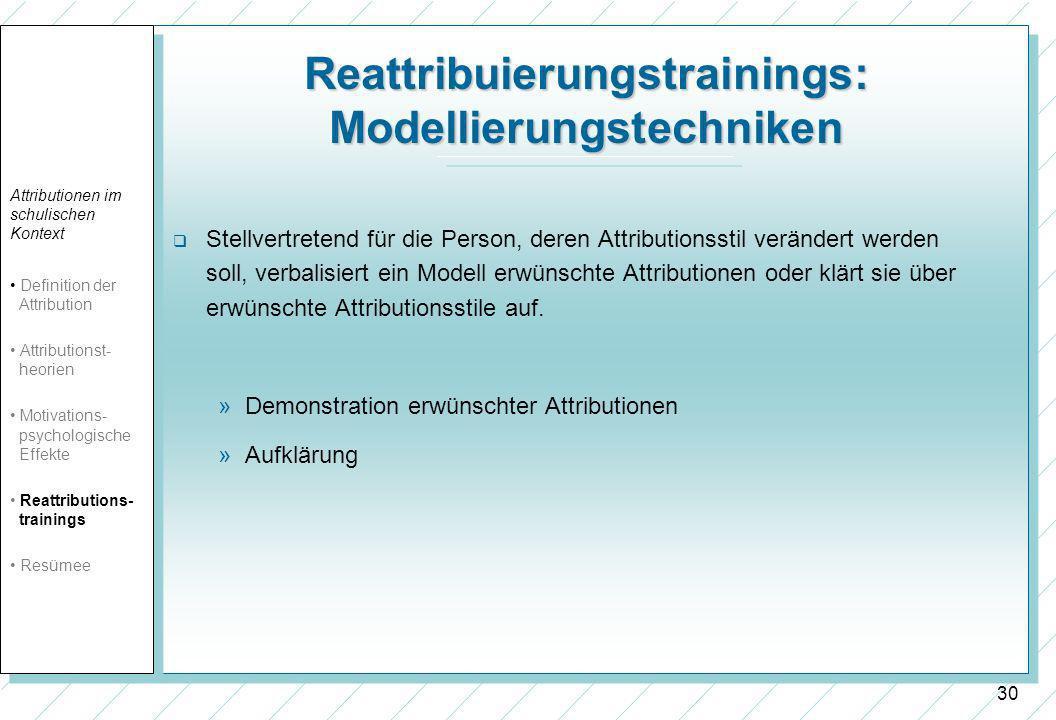 30 Reattribuierungstrainings: Modellierungstechniken Stellvertretend für die Person, deren Attributionsstil verändert werden soll, verbalisiert ein Modell erwünschte Attributionen oder klärt sie über erwünschte Attributionsstile auf.