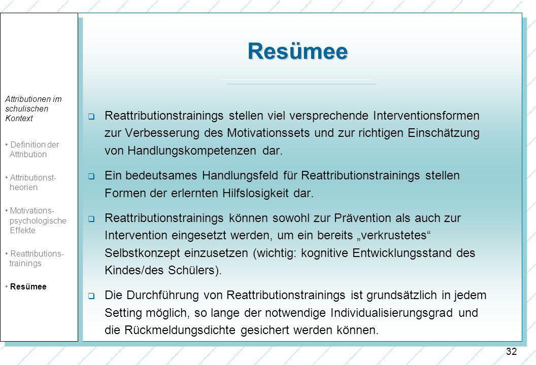 32 Resümee Reattributionstrainings stellen viel versprechende Interventionsformen zur Verbesserung des Motivationssets und zur richtigen Einschätzung von Handlungskompetenzen dar.