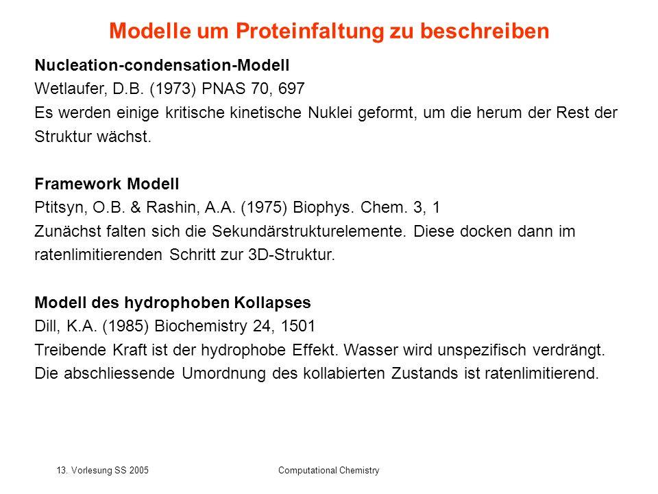 13. Vorlesung SS 2005Computational Chemistry Nucleation-condensation-Modell Wetlaufer, D.B. (1973) PNAS 70, 697 Es werden einige kritische kinetische