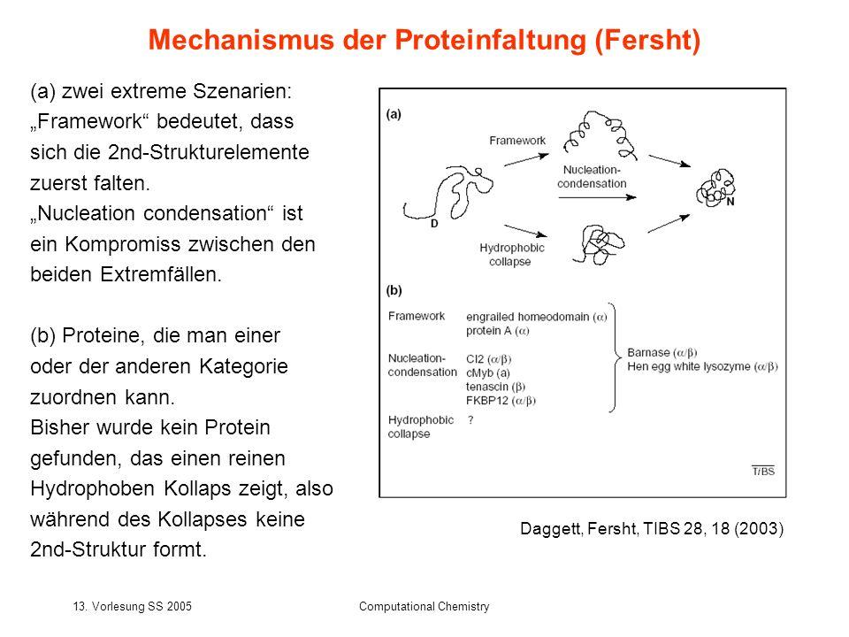 13. Vorlesung SS 2005Computational Chemistry (a) zwei extreme Szenarien: Framework bedeutet, dass sich die 2nd-Strukturelemente zuerst falten. Nucleat
