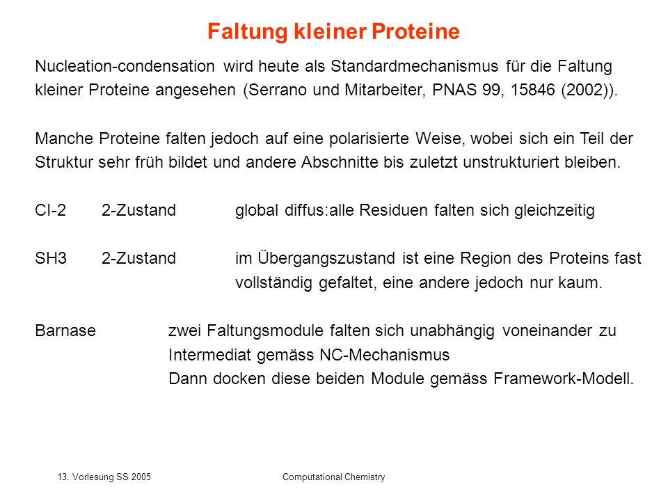 13. Vorlesung SS 2005Computational Chemistry Nucleation-condensation wird heute als Standardmechanismus für die Faltung kleiner Proteine angesehen (Se