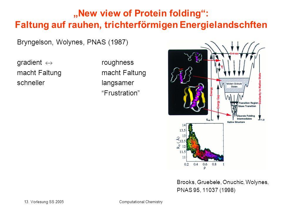 13. Vorlesung SS 2005Computational Chemistry Bryngelson, Wolynes, PNAS (1987) gradient roughnessmacht Faltung schnellerlangsamer Frustration New view