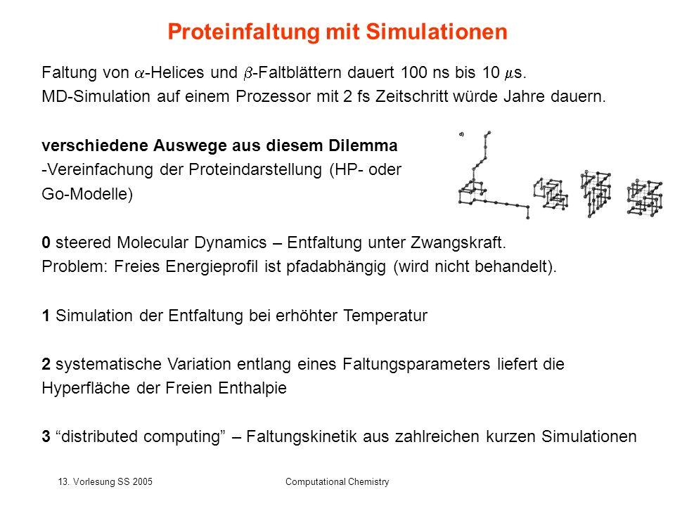 13. Vorlesung SS 2005Computational Chemistry Proteinfaltung mit Simulationen Faltung von -Helices und -Faltblättern dauert 100 ns bis 10 s. MD-Simulat