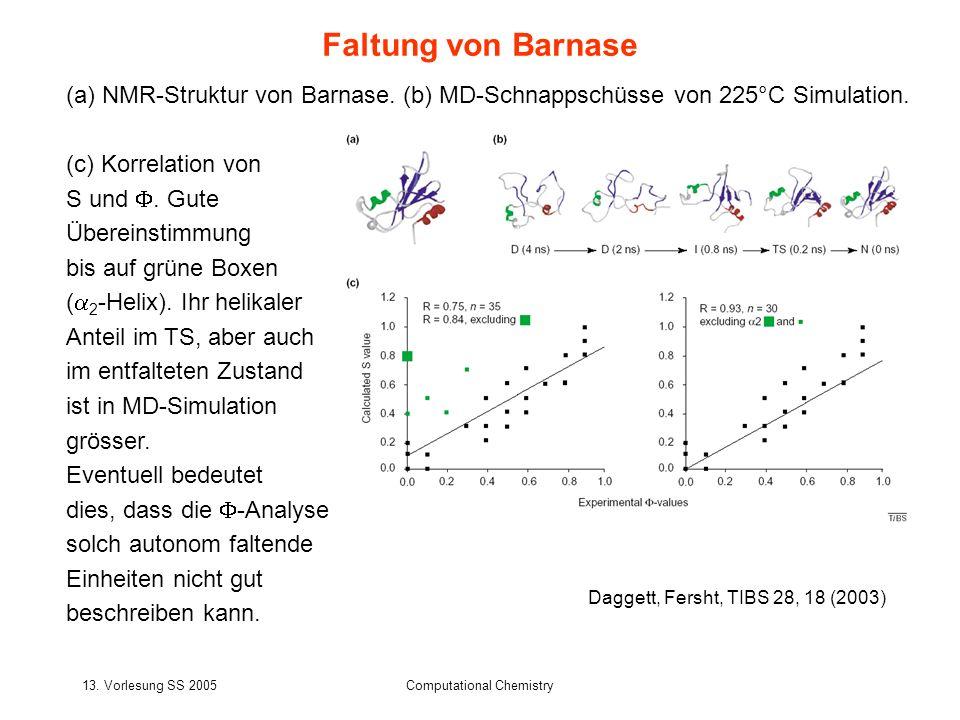 13. Vorlesung SS 2005Computational Chemistry Faltung von Barnase Daggett, Fersht, TIBS 28, 18 (2003) (a) NMR-Struktur von Barnase. (b) MD-Schnappschüs