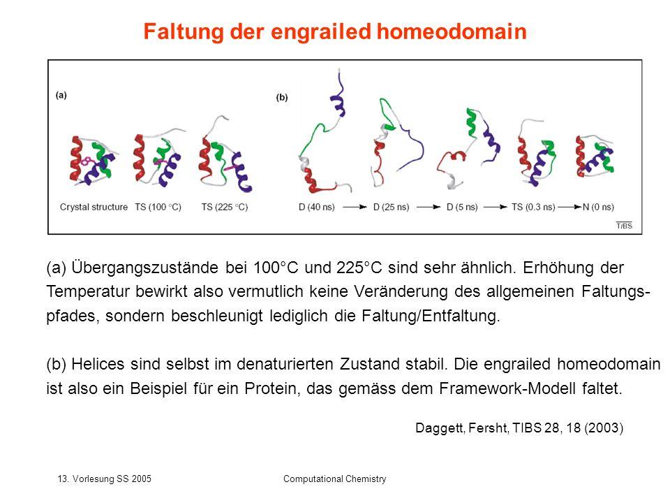 13. Vorlesung SS 2005Computational Chemistry (a) Übergangszustände bei 100°C und 225°C sind sehr ähnlich. Erhöhung der Temperatur bewirkt also vermutl