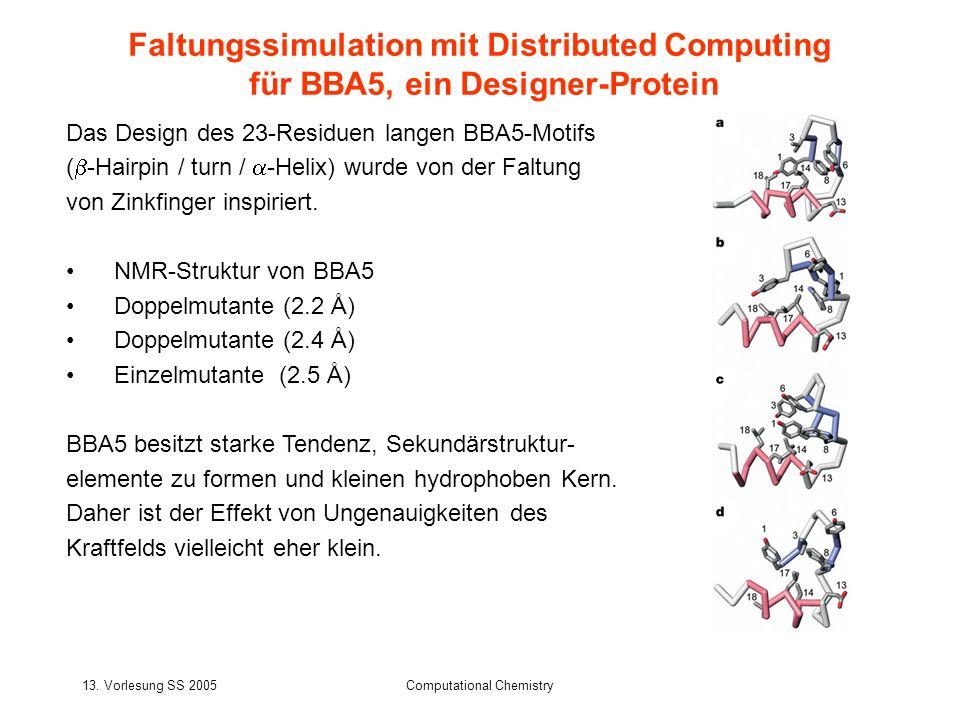 13. Vorlesung SS 2005Computational Chemistry Das Design des 23-Residuen langen BBA5-Motifs ( -Hairpin / turn / -Helix) wurde von der Faltung von Zinkf