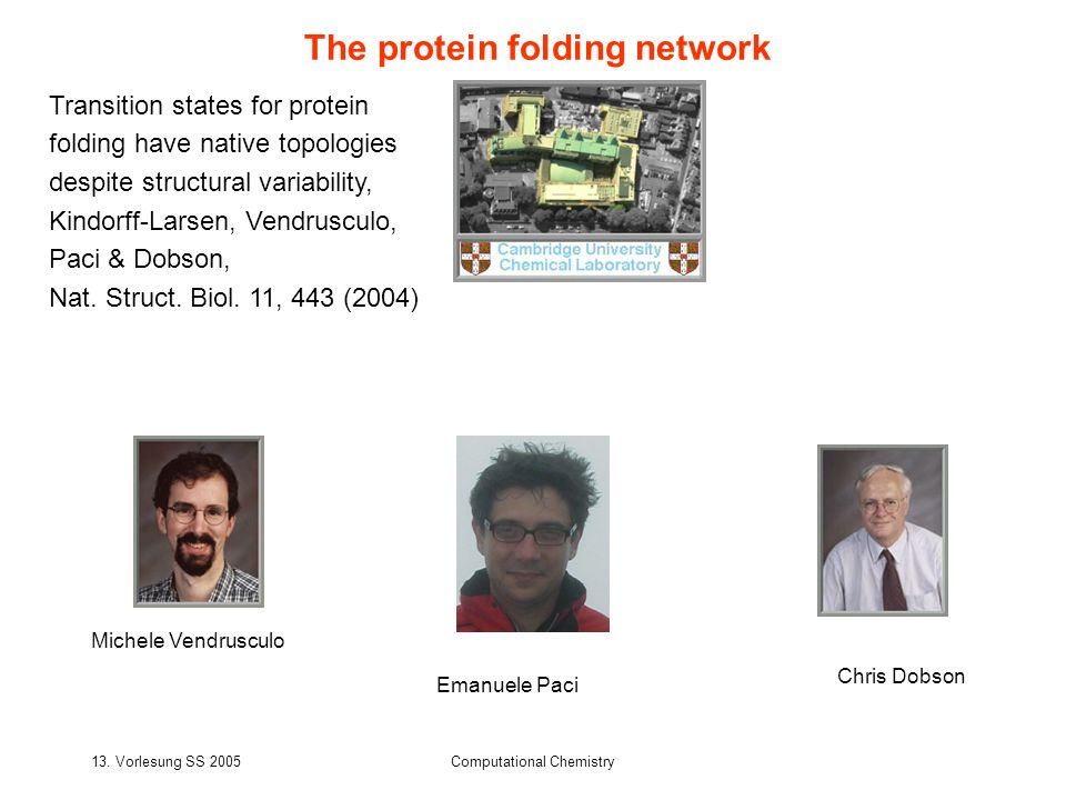 13. Vorlesung SS 2005Computational Chemistry The protein folding network Transition states for protein folding have native topologies despite structur