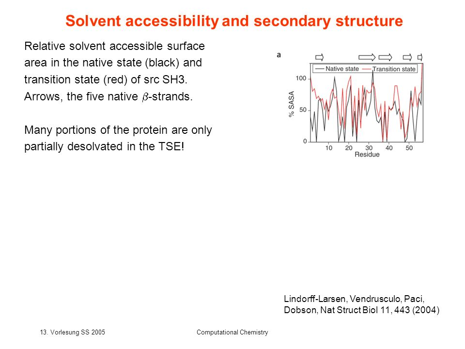 13. Vorlesung SS 2005Computational Chemistry Solvent accessibility and secondary structure Relative solvent accessible surface area in the native stat