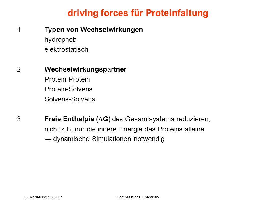 13. Vorlesung SS 2005Computational Chemistry 1Typen von Wechselwirkungen hydrophob elektrostatisch 2Wechselwirkungspartner Protein-Protein Protein-Sol