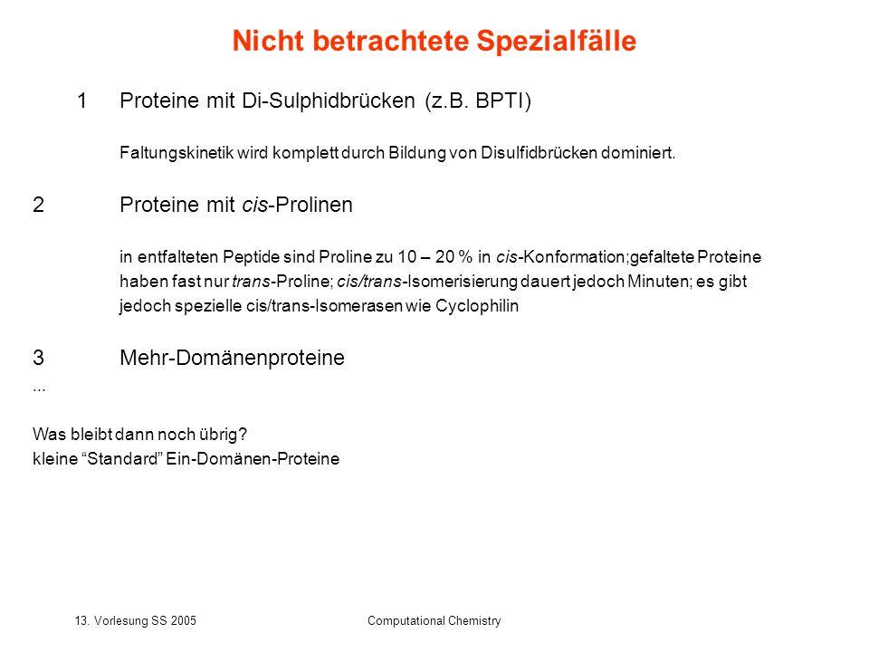 13. Vorlesung SS 2005Computational Chemistry Nicht betrachtete Spezialfälle 1Proteine mit Di-Sulphidbrücken (z.B. BPTI) Faltungskinetik wird komplett