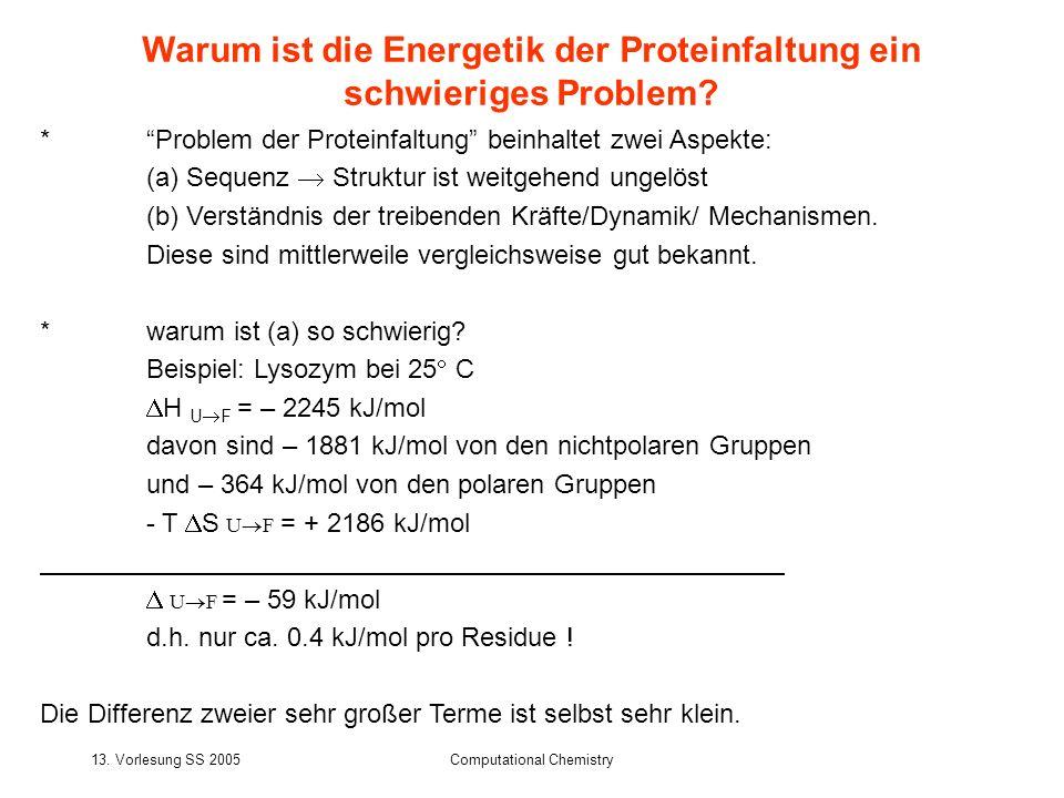 13. Vorlesung SS 2005Computational Chemistry *Problem der Proteinfaltung beinhaltet zwei Aspekte: (a) Sequenz Struktur ist weitgehend ungelöst (b) Ver