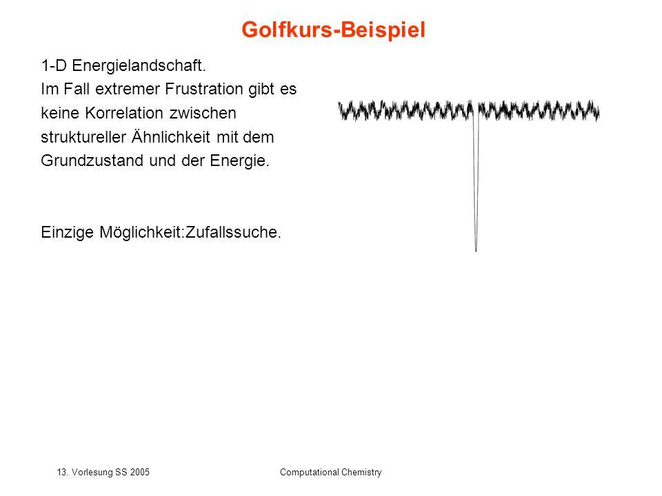 13. Vorlesung SS 2005Computational Chemistry Golfkurs-Beispiel 1-D Energielandschaft. Im Fall extremer Frustration gibt es keine Korrelation zwischen