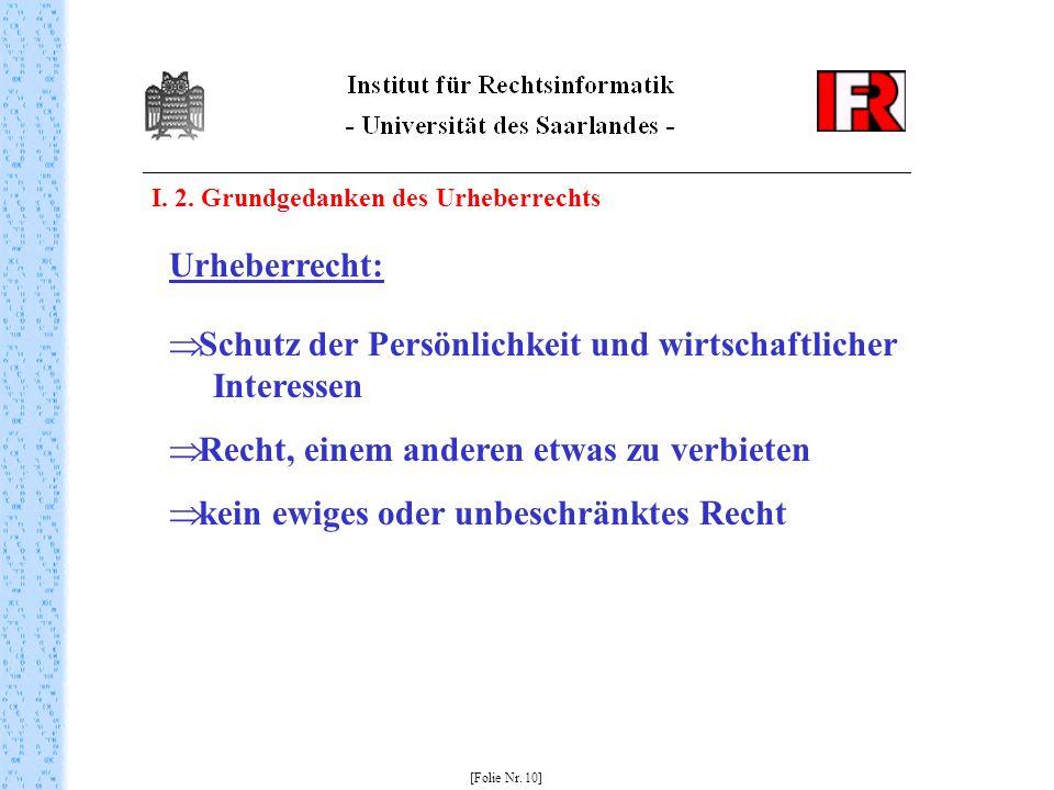 I. 2. Grundgedanken des Urheberrechts [Folie Nr. 10] Urheberrecht: Schutz der Persönlichkeit und wirtschaftlicher Interessen Recht, einem anderen etwa