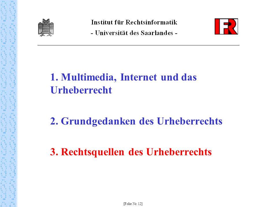 1. Multimedia, Internet und das Urheberrecht 2. Grundgedanken des Urheberrechts 3. Rechtsquellen des Urheberrechts [Folie Nr. 12]