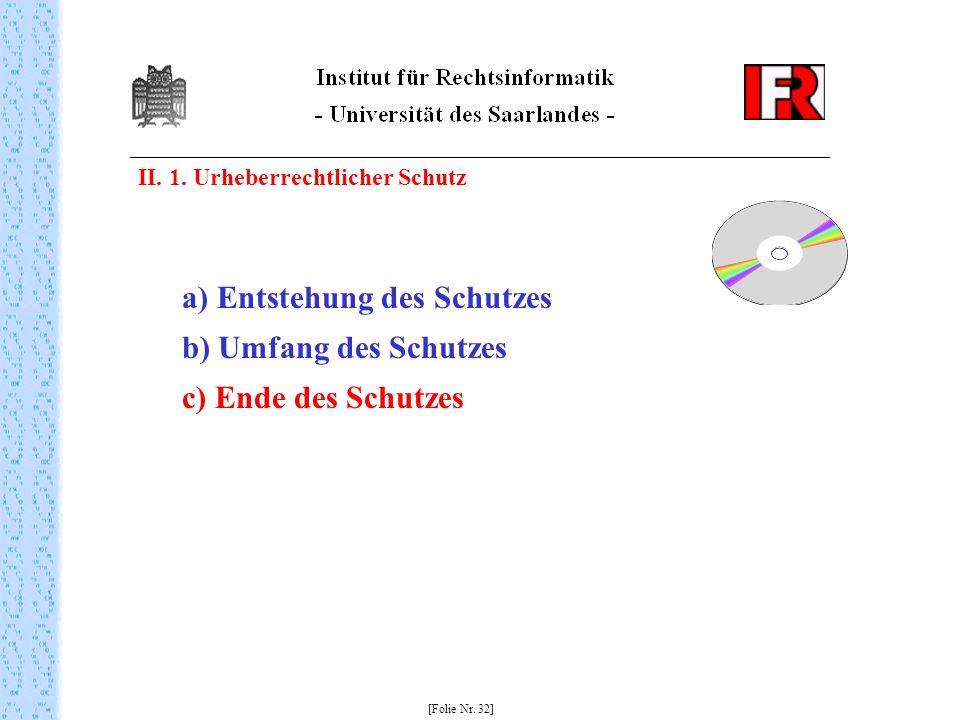 II. 1. Urheberrechtlicher Schutz [Folie Nr. 32] a) Entstehung des Schutzes b) Umfang des Schutzes c) Ende des Schutzes