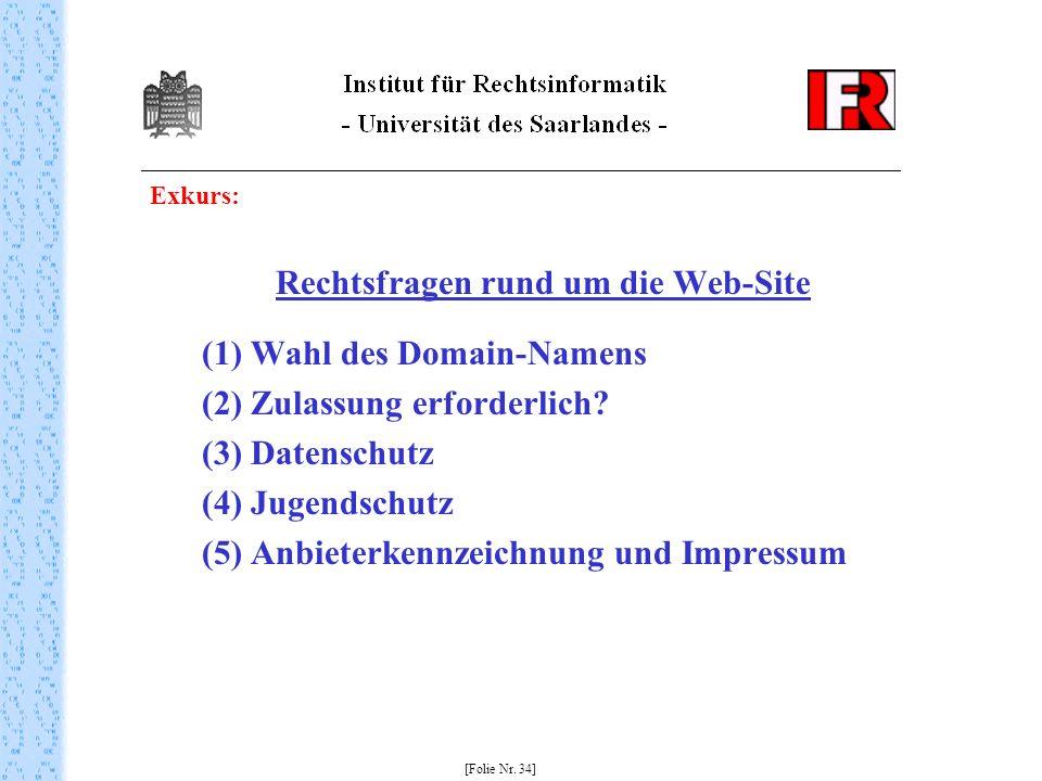 Exkurs: Rechtsfragen rund um die Web-Site (1) Wahl des Domain-Namens (2) Zulassung erforderlich? (3) Datenschutz (4) Jugendschutz (5) Anbieterkennzeic