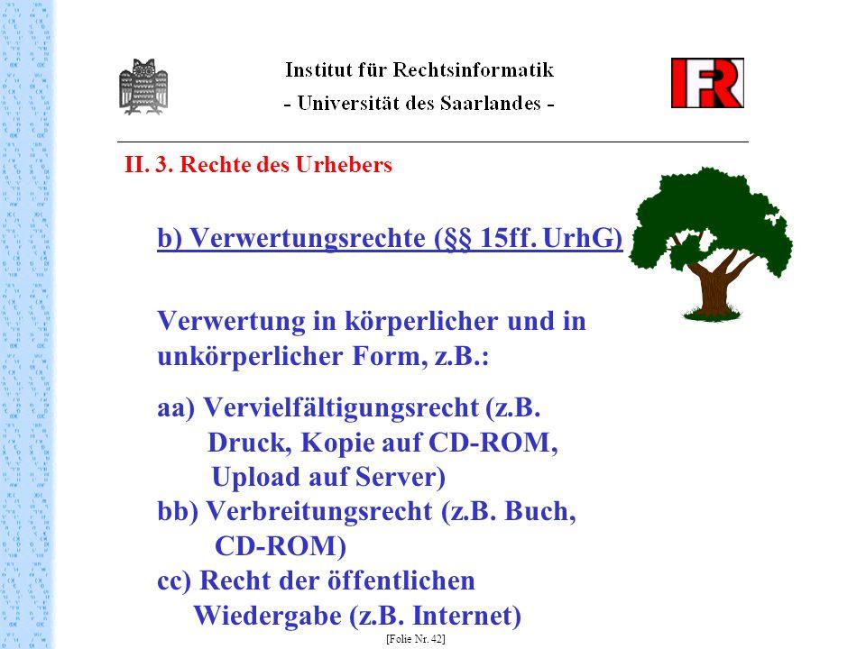 II. 3. Rechte des Urhebers b) Verwertungsrechte (§§ 15ff. UrhG) Verwertung in körperlicher und in unkörperlicher Form, z.B.: aa) Vervielfältigungsrech