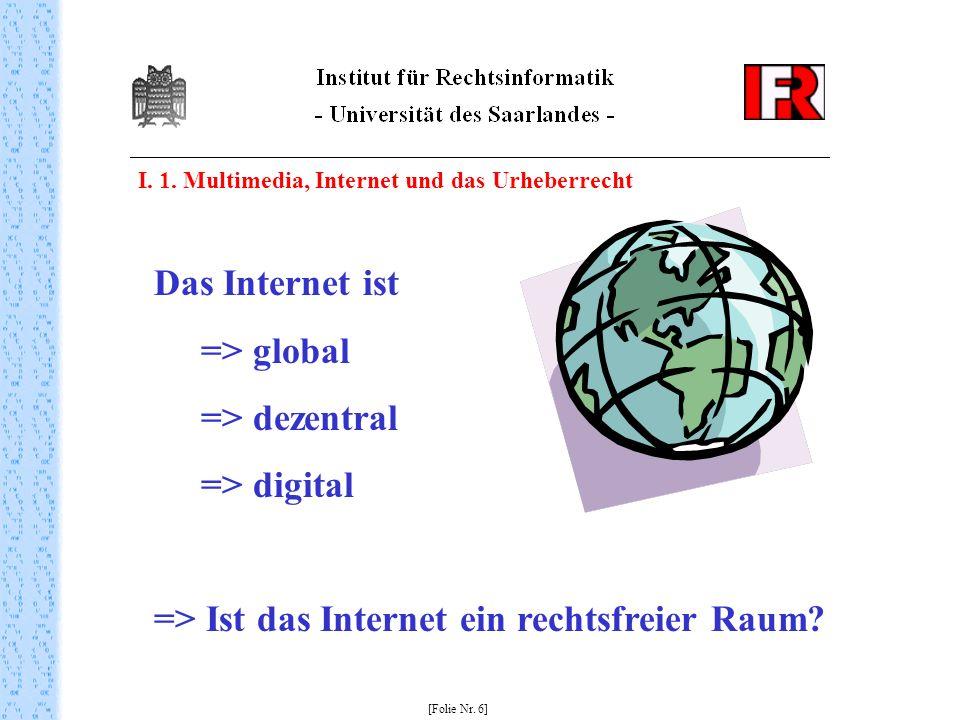 I. 1. Multimedia, Internet und das Urheberrecht [Folie Nr. 6] Das Internet ist => global => dezentral => digital => Ist das Internet ein rechtsfreier