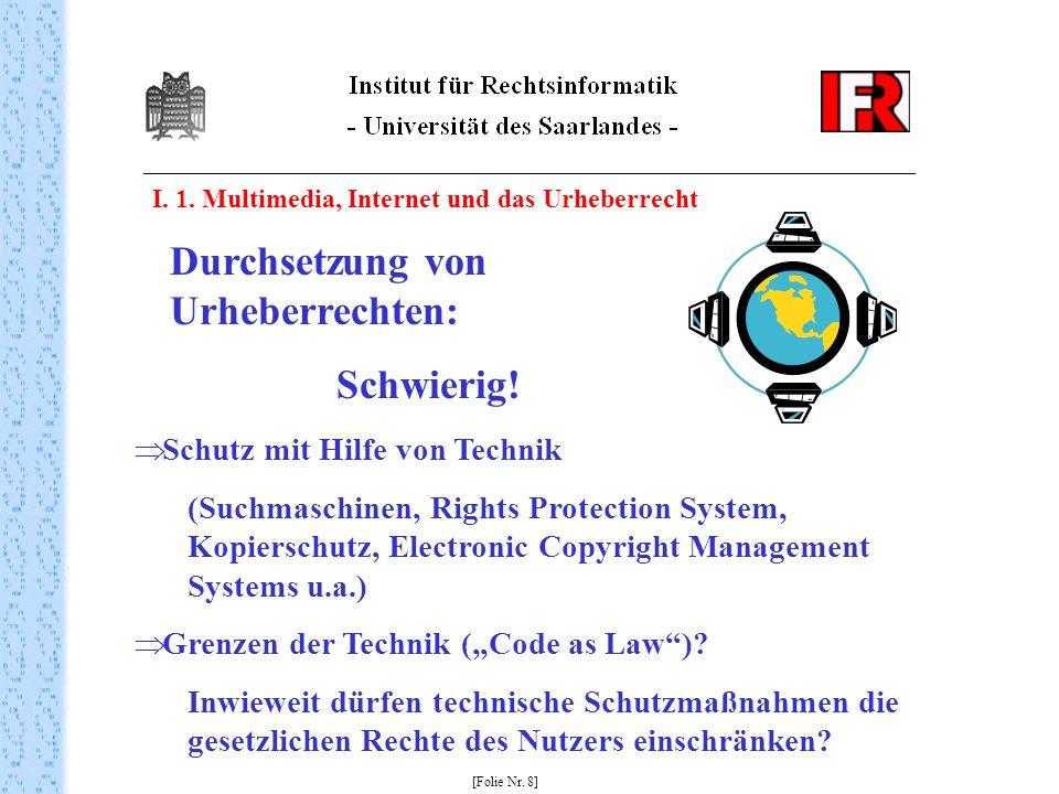 I. 1. Multimedia, Internet und das Urheberrecht [Folie Nr. 8] Durchsetzung von Urheberrechten: Schwierig! Schutz mit Hilfe von Technik (Suchmaschinen,