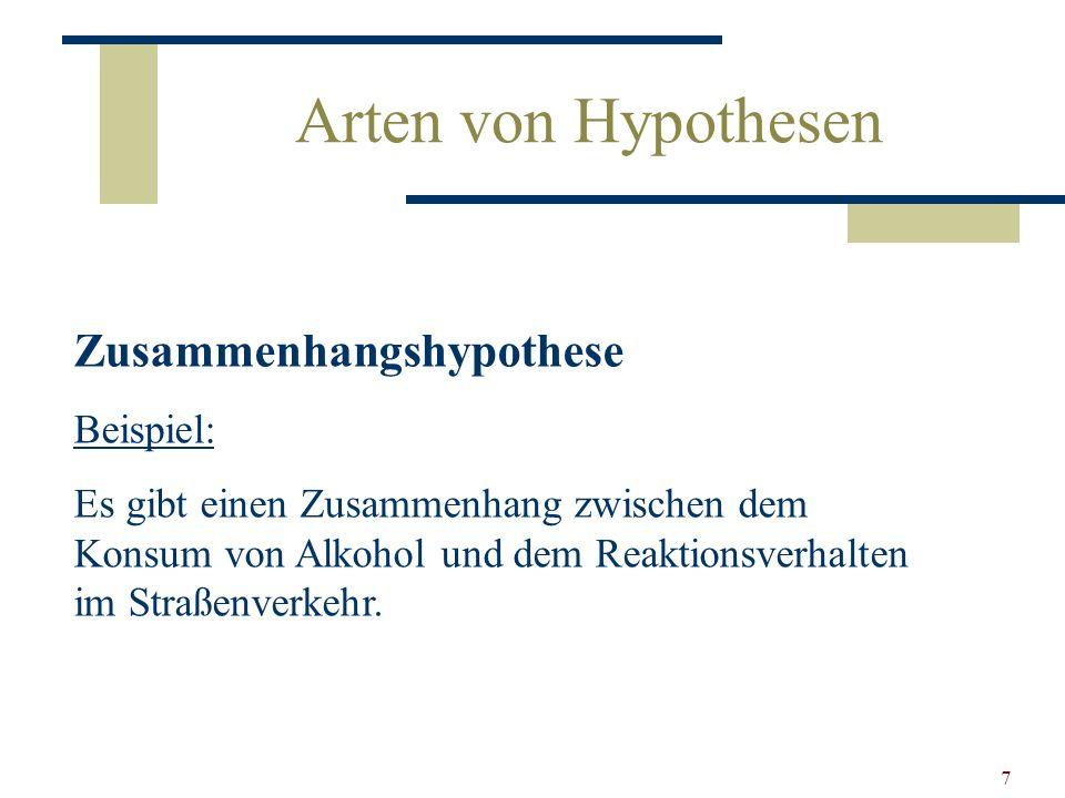 7 Arten von Hypothesen Zusammenhangshypothese Beispiel: Es gibt einen Zusammenhang zwischen dem Konsum von Alkohol und dem Reaktionsverhalten im Straß