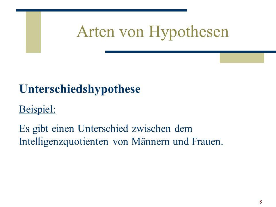 9 Arten von Hypothesen Bei Zusammenhangshypothesen: Es gibt keinen Zusammenhang zwischen...