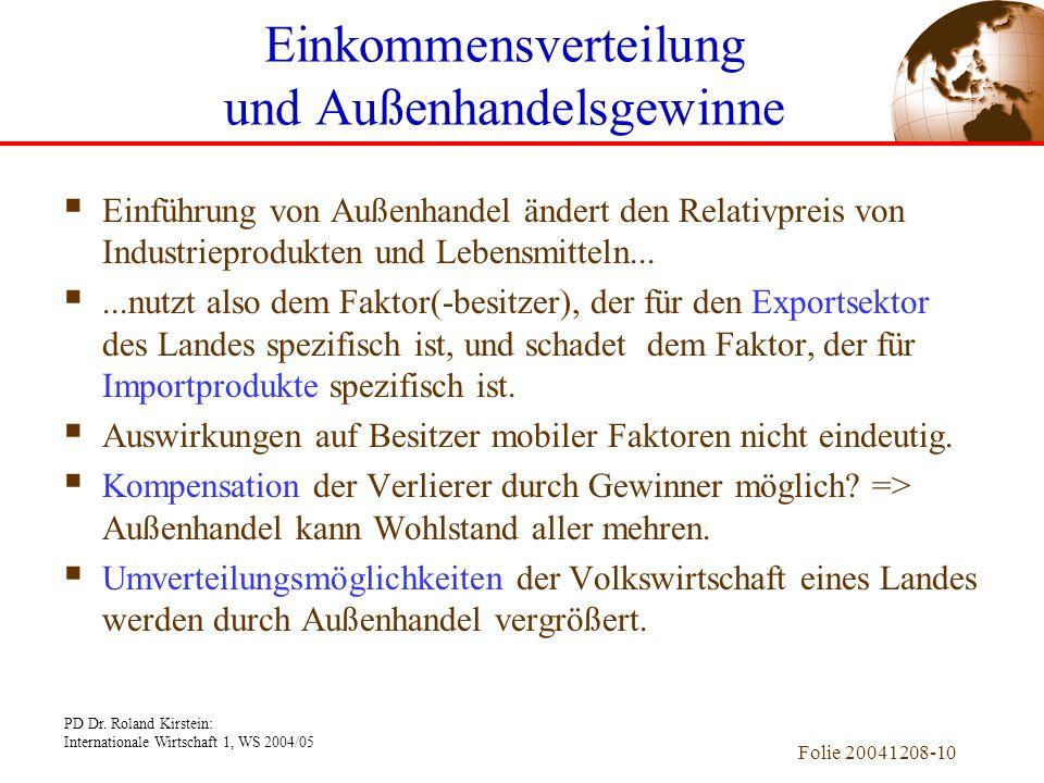 PD Dr. Roland Kirstein: Internationale Wirtschaft 1, WS 2004/05 Folie 20041208-9 Außenhandels-Gleichgewicht Tauschkurve: Menge aller Haushalts-GG. Im
