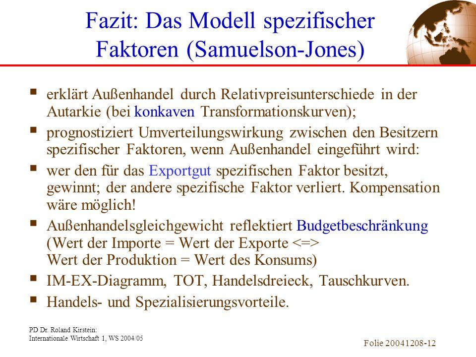 PD Dr. Roland Kirstein: Internationale Wirtschaft 1, WS 2004/05 Folie 20041208-11 Budgetbeschränkung (Steigerung = - P M /P F ) PP Konsum an Ind.-prod