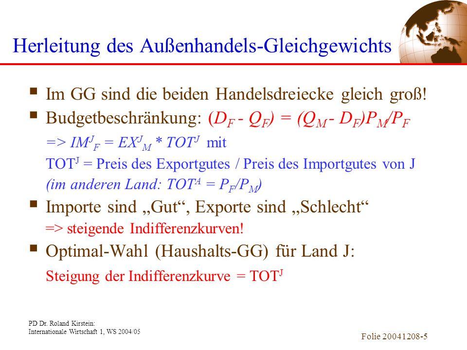 PD Dr. Roland Kirstein: Internationale Wirtschaft 1, WS 2004/05 Folie 20041208-4 QJFQJF QAFQAF DAFDAF DJFDJF QAMQAM DAMDAM QJMQJM DJMDJM IM J F EX A F