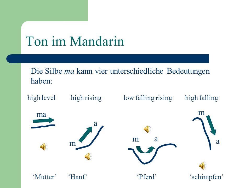 Ton Tonhöhenbewegungen die im Lexikon spezifiziert sind – silbenbasierendes Phänomen Funktion: unterscheidet Wörter voneinander Akustische Korrelate: