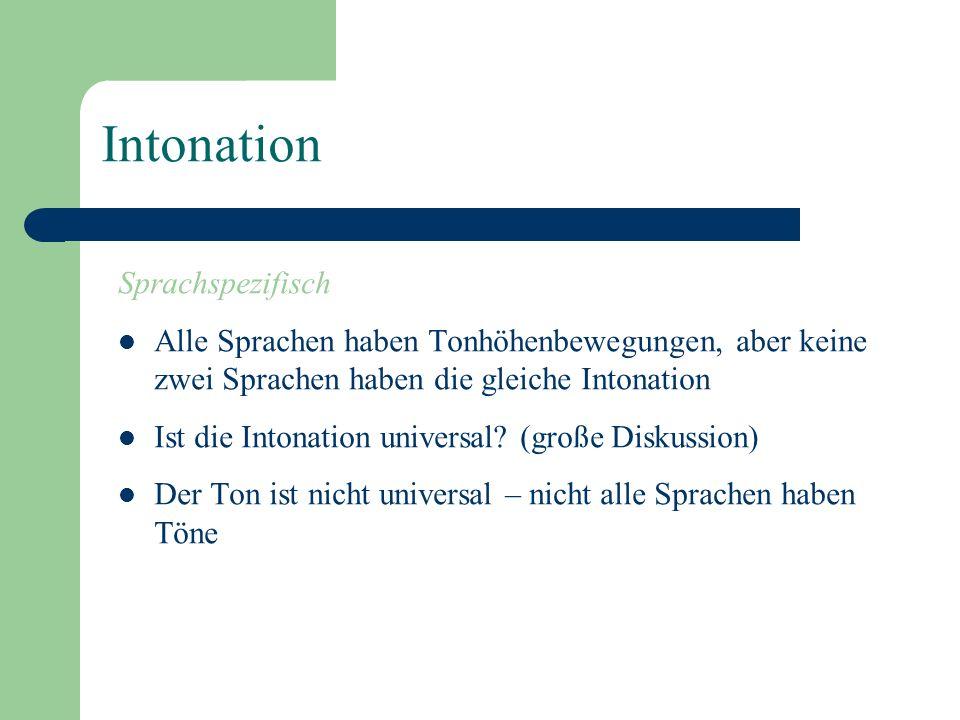 Intonation Signifikant Zwei Äusserungen die sich nur intonatorisch unterscheiden, können unterschiedliche (grammatische) Bedeutungen haben. Systematis