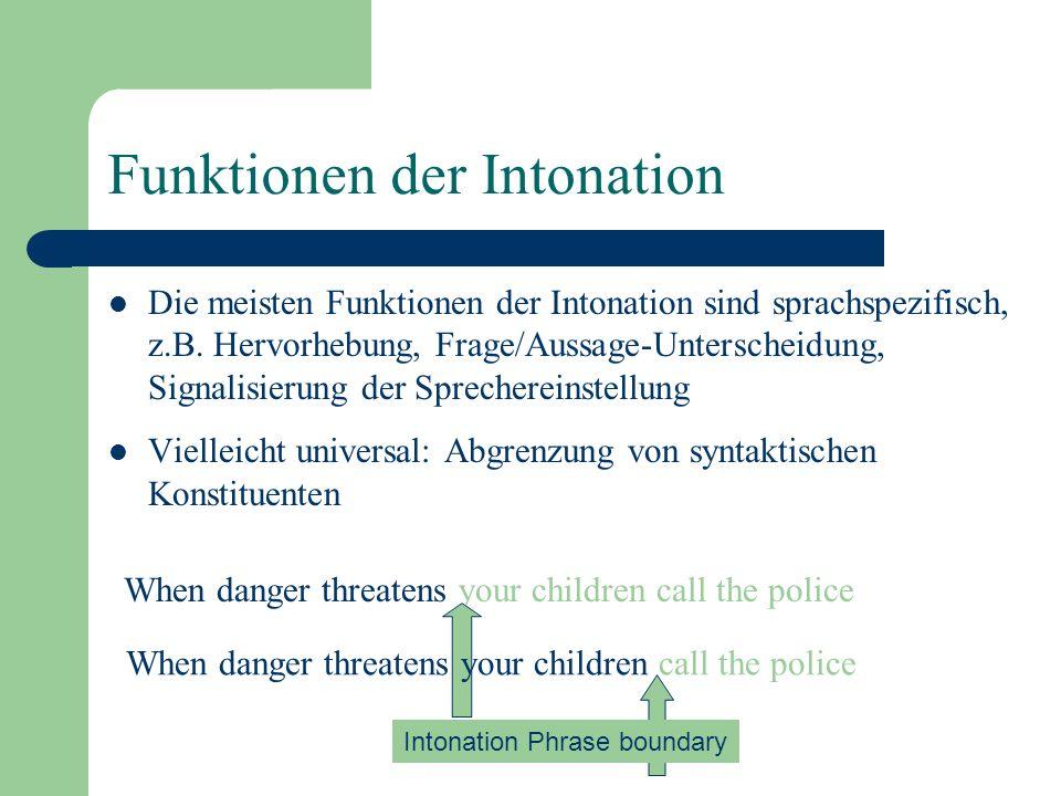 Intonation Sprachspezifisch Alle Sprachen haben Tonhöhenbewegungen, aber keine zwei Sprachen haben die gleiche Intonation Ist die Intonation universal.