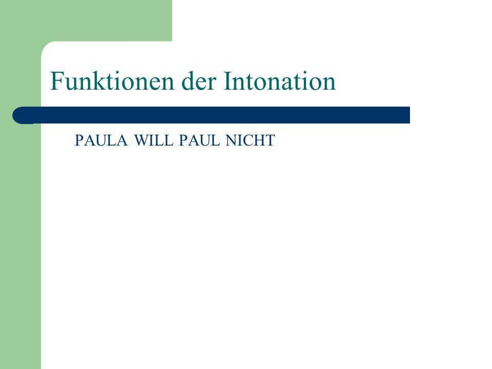 Funktionen der Intonation Die meisten Funktionen der Intonation sind sprachspezifisch, z.B. Hervorhebung, Frage/Aussage-Unterscheidung, Signalisierung