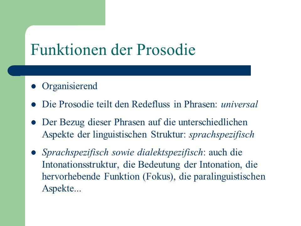 Prosodie Der Begriff Prosodie beinhaltet folgende Phänomene: (1) Prominenzunterschiede zwischen Silben – Unterschiede in Dauer, Lautheit, Vorhandensein/Nicht-Vorhandensein von Tonhöhenbewegungen (2) Tonhöhenmuster in der Sprache, die die Sprecher systematisch benutzen, wodurch die Äusserung an kommunikativen Inhalt gewinnt Der Begriff Intonation bezieht sich auf (2)