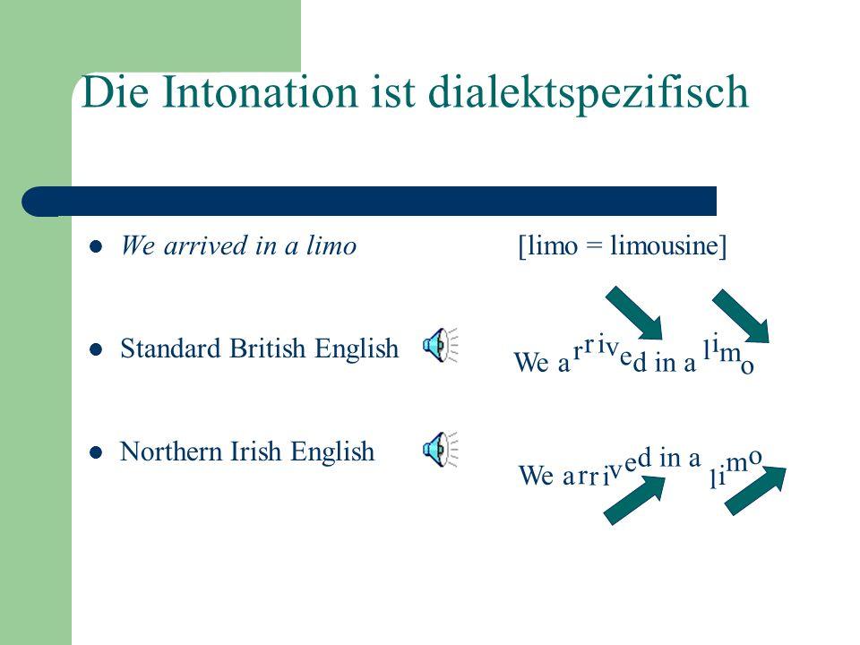 Funktionen der Prosodie Organisierend Die Prosodie teilt den Redefluss in Phrasen: universal Der Bezug dieser Phrasen auf die unterschiedlichen Aspekt