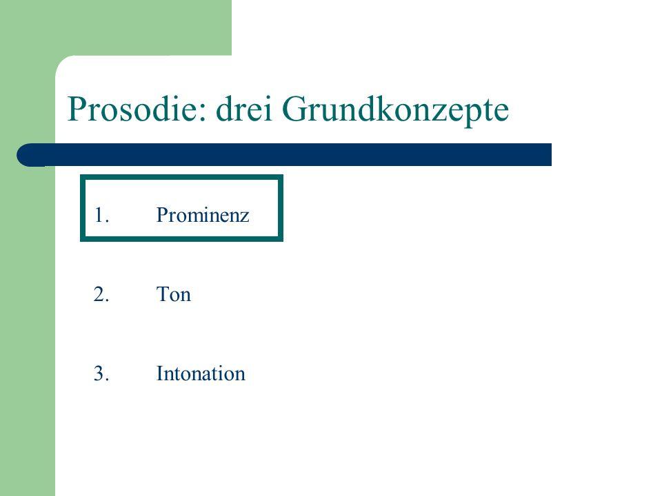 1.Prominenz 2.Ton 3.Intonation Prosodie: drei Grundkonzepte