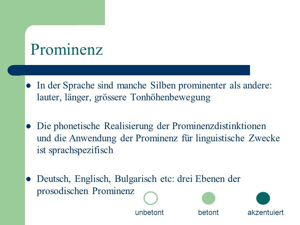 Prominenz In der Sprache sind manche Silben prominenter als andere: lauter, länger, grössere Tonhöhenbewegung Die phonetische Realisierung der Prominenzdistinktionen und die Anwendung der Prominenz für linguistische Zwecke ist sprachspezifisch Deutsch, Englisch, Bulgarisch etc: drei Ebenen der prosodischen Prominenz unbetontbetontakzentuiert
