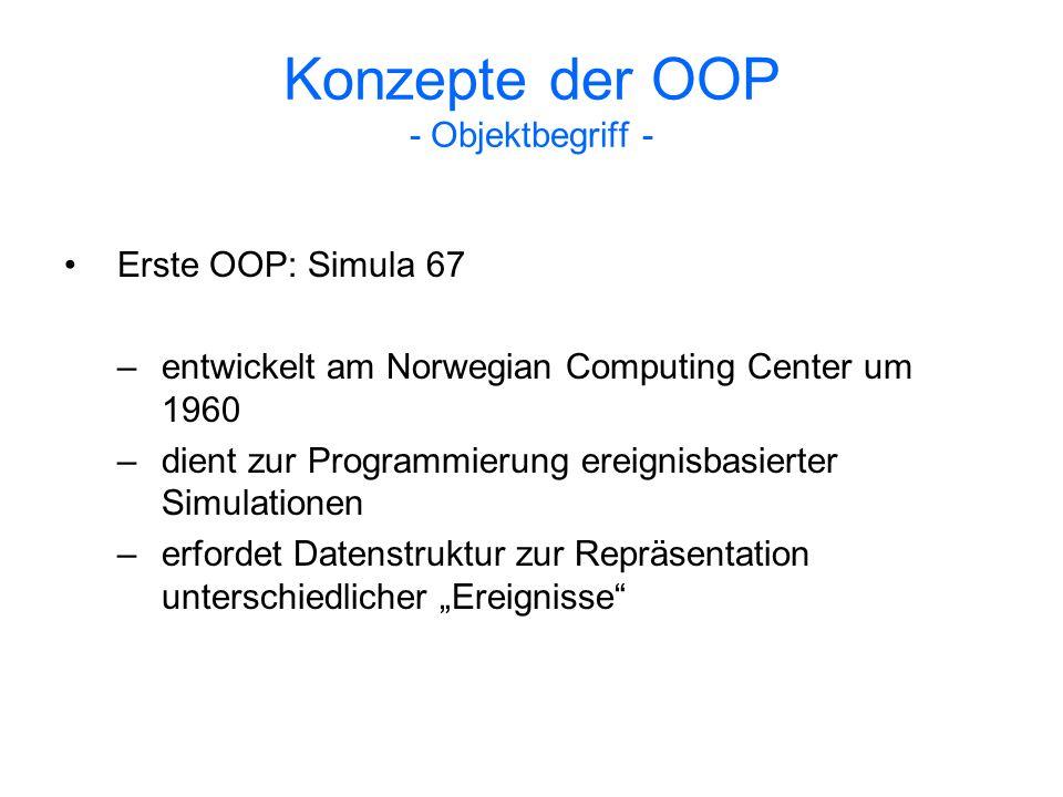 Konzepte der OOP - Objektbegriff - Ein Objekt vereint Daten und Prozeduren, die auf diesen Daten operieren, in einem Wert Eigenschaften, die den meisten klassenbasierten objektorientierten Programmiersprachen gemein sind: –Enkapsulierung –Vererbung –dynamische Bindung –Subtyping