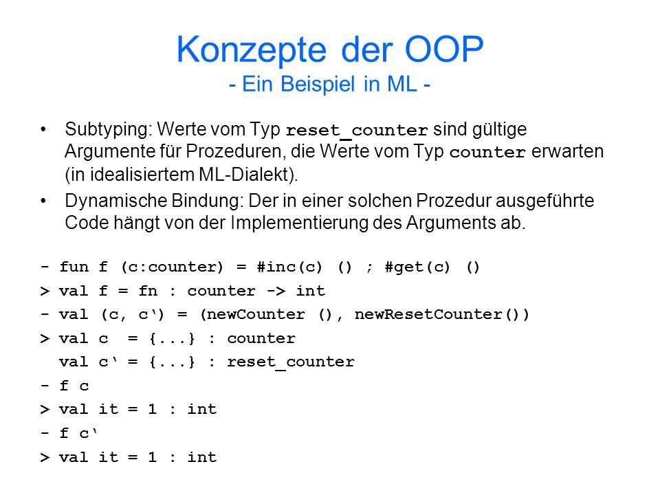 Konzepte der OOP - Subtyping - Ein Typ σ ist ein Subtyp eines Typs τ ( σ τ ), wenn in jedem Kontext, der einen Wert des Typs τ erwartet, ein Wert des Typs σ verwendet werden kann Subtyping definiert eine Relation Typ Typ, die folgende Eigenschaften aufweist: –Reflexivität –Transitivität –Antisymmetrie Die Subtypingrelation ist also eine Teilordnung.