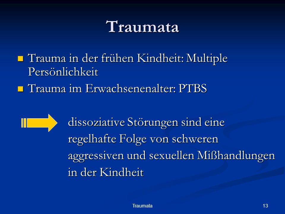 13Traumata Traumata Trauma in der frühen Kindheit: Multiple Persönlichkeit Trauma in der frühen Kindheit: Multiple Persönlichkeit Trauma im Erwachsene