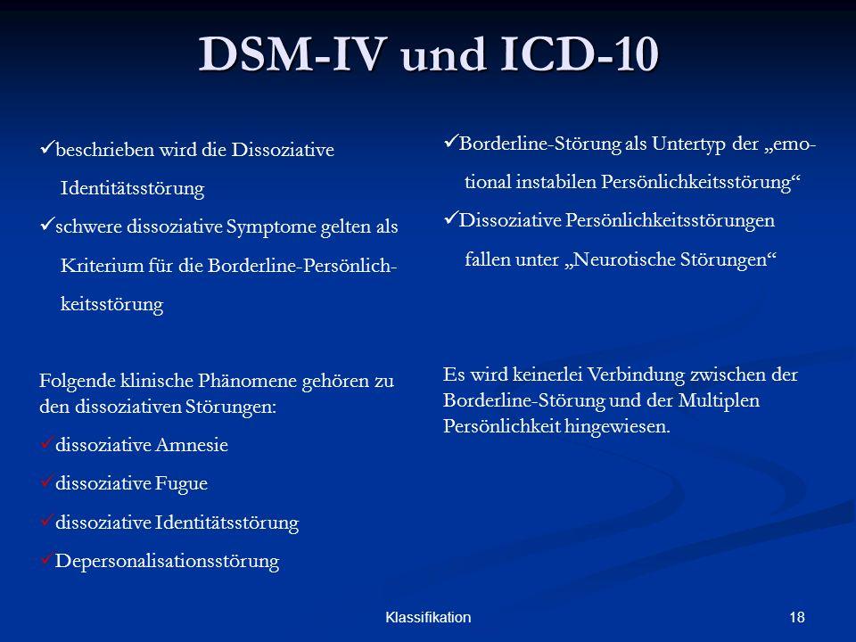 18Klassifikation DSM-IV und ICD-10 beschrieben wird die Dissoziative Identitätsstörung schwere dissoziative Symptome gelten als Kriterium für die Bord